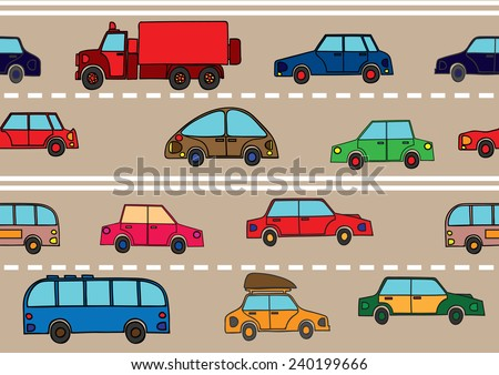 Stream of cars on the road. - stock vector
