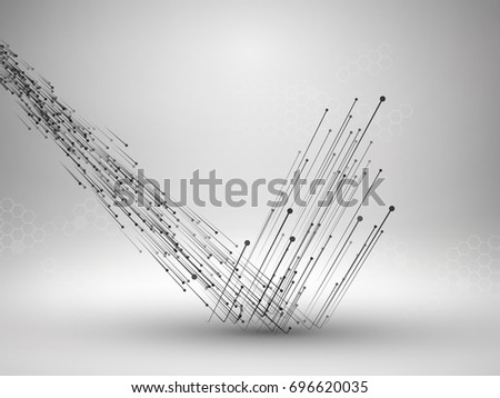 Drawing With Lines And Dots : Stream connected lines dots bouncing off stock vector 696620035