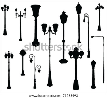 street and garden lamps vector - stock vector