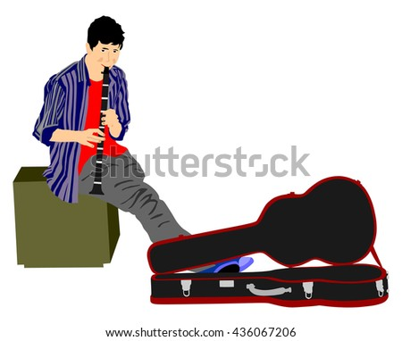 Street artist boy playing on the clarinet, vector illustration. Street performer with flute, clarinet isolated on white background. Flutist. - stock vector