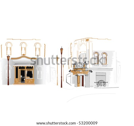 Street at the city - stock vector