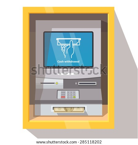 Street ATM teller machine with current operation icon on the screen and dollar banknotes sticking out of a slot. Hand taking banknote pictogram. Flat style vector illustration. - stock vector
