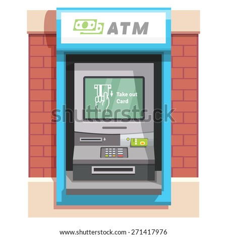 Street ATM teller machine with current operation icon on the screen. Hand taking credit card out pictogram. Flat style vector illustration. - stock vector