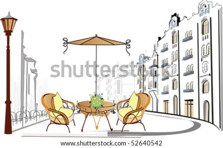 Street cafe - stock vector