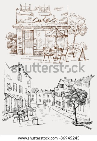 Street cafe - stock vector