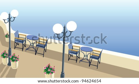 street Cafe at the sea