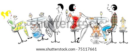 Street cafe. Two cats - the thief steal the fish. Near the boy shakes the table, behind which sit the parents. - stock vector