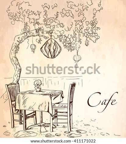 Street cafe view with tree, coffee table and two chairs, graphic vector illustration, sketch on vintage paper background - stock vector
