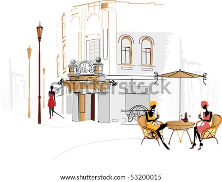 Street cafe with people drinking coffee - stock vector
