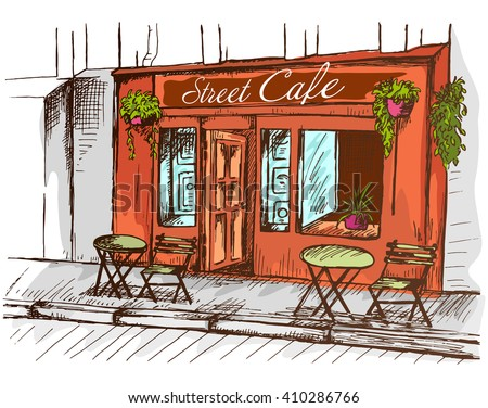 Street cafe without people in old town, colorful graphic vector illustration, sketch on white background - stock vector