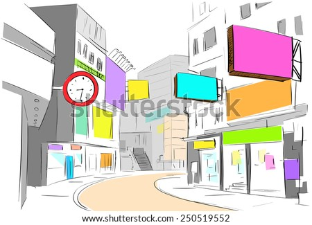 street center city view draw sketch shops colorful buildings, vector illustration - stock vector