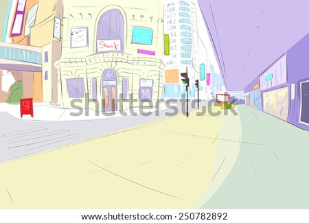street city view draw sketch shops colorful buildings, vector illustration - stock vector