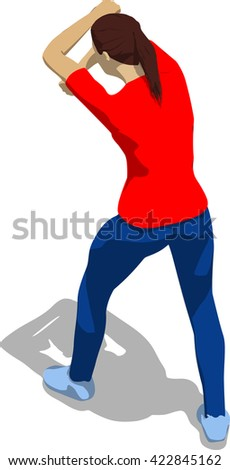 Street fighter blocking the hit. Young athletic woman in red t-shirt and blue tights. 3d flat isometric. - stock vector