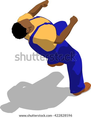 Street fighter getting hit to head. African fat man in a blue overalls and a yellow t-shirt. 3d flat isometric.
