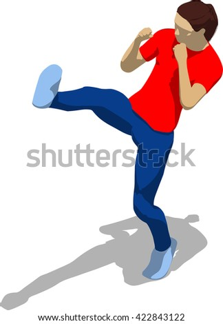 Street fighter kicking with a leg to head. Young athletic woman in red t-shirt and blue tights. 3d flat isometric. - stock vector