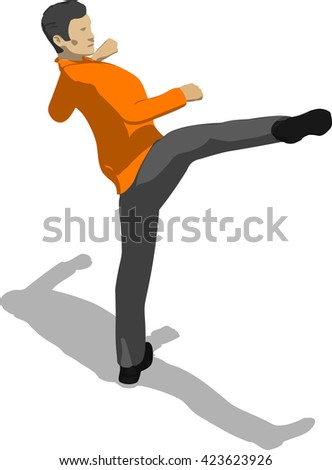 Street fighter kicking with a leg to head. Young thin man in orange shirt. 3d flat isometric. - stock vector