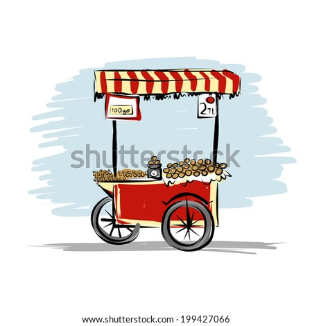 Street food cart for your design - stock vector