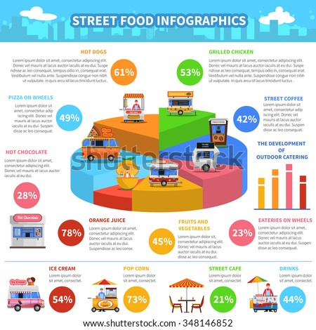 Street food infographics set with snack trucks and carts vector illustration - stock vector