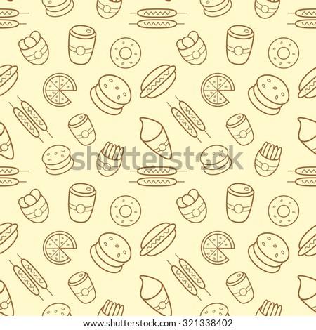 Street food pattern - stock vector