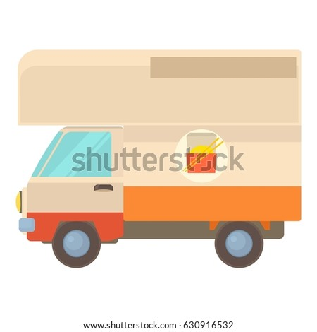 Street food truck icon. Cartoon illustration of street food truck vector icon for web