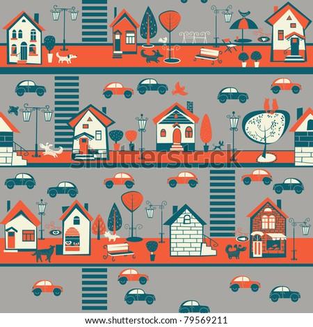 street, houses, dogs, cars - stock vector
