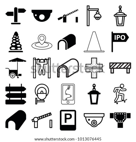 street icons set 25 editable filled stock vector 1013076445