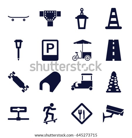 street icons set set 16 street stock vector royalty free 645273715