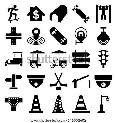 street icons set set 25 street stock vector royalty free 645302602