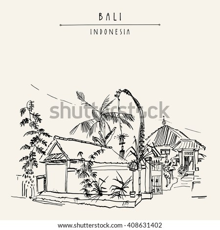 Street in Jimbaran, Bali, Indonesia, Asia. Traditional Balinese house decorated with a penjor for Galungan holiday celebration. Hand drawing. Travel sketch. Handdrawn postcard or poster in vector