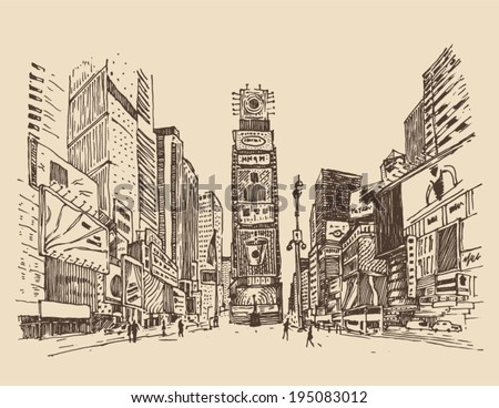 street in New York city engraving  vector illustration, hand drawn - stock vector