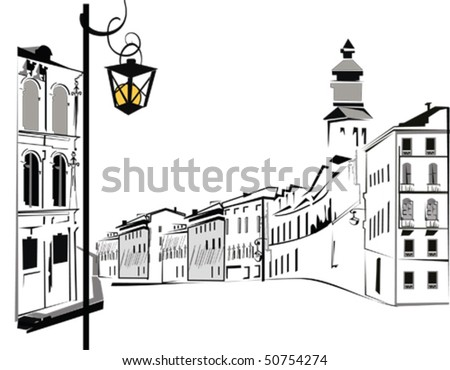 Street in the city - stock vector