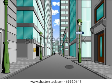Street in the city center, summer day full of sunshine (vector) - stock vector