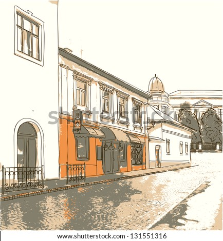 Street in the old town. Vector illustration. - stock vector