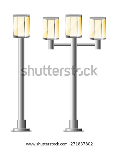 Street Lights - Park. Vector Set - stock vector