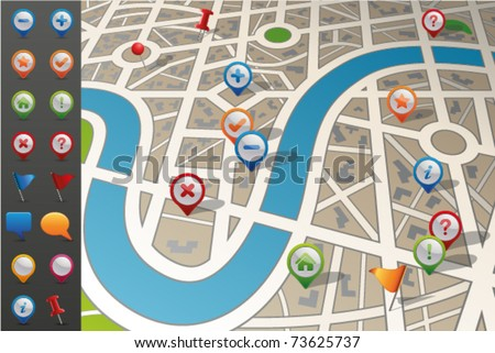 Street Map with GPS Icons. - stock vector