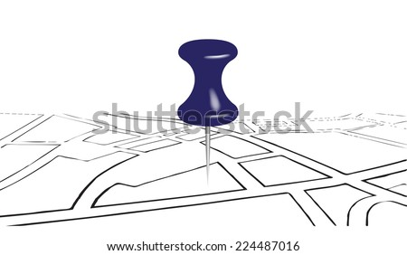 Street map with the office button. Vector illustration. - stock vector