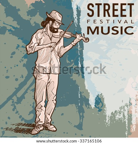 Street musician playing violin on a grunge background and a plate for custom text. EPS10 vector illustration. - stock vector