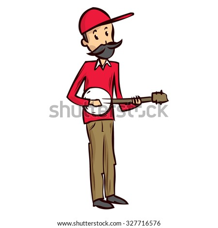 Street musician plays banjo. Hand drawn cartoon vector illustration.