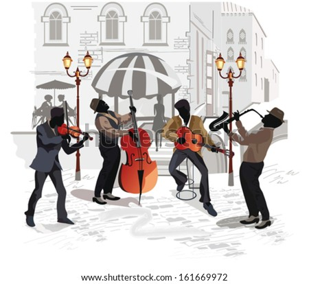 Street musicians with a saxophone, a contra-bass, a guitar, a violin on the background of a street cafe  - stock vector