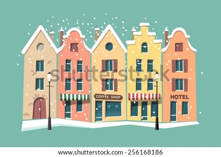 Street of the old town, urban landscape, winter snow - vector illustration. - stock vector
