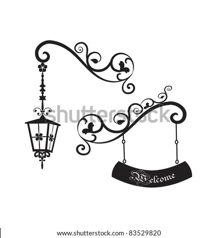 Street old lamp and shild - stock vector
