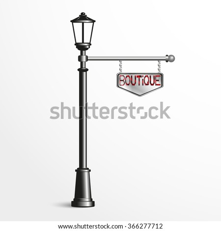 Street post with a sign. Vector illustration.
