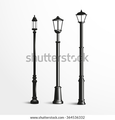 Street posts.  Black and white vector illustration.
