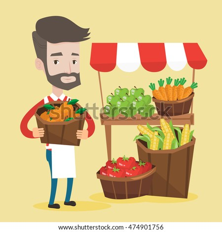 Street seller with stall with fruits and vegetables. Greengrocer standing near market stall. Hipster seller with the beard holding basket with fruits. Vector flat design illustration. Square layout.