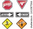 Street Signs Set 2 - Stop sign, yield sign, one way sign, crosswalk sign, flagman sign. - stock