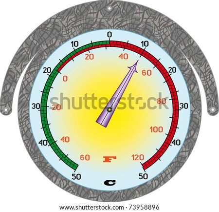 street thermometer under the white background - stock vector