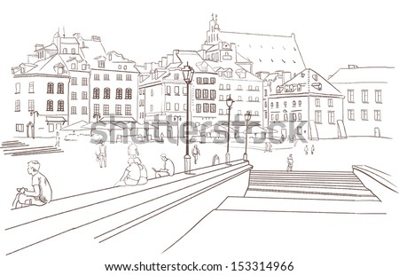 Street view in the old city , Europe, Warsaw, Old town sketch , Vector illustration - stock vector