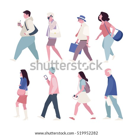 street walking people vector illustration flat design