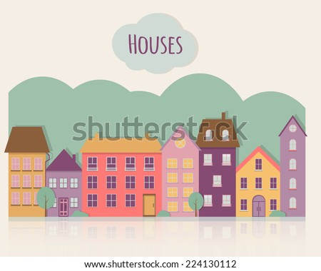 Street with houses. Flat style vector illustration. - stock vector