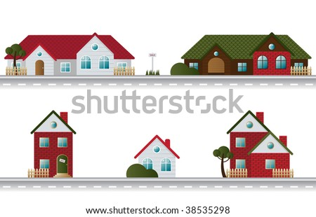 Street with houses in different architectural styles - stock vector